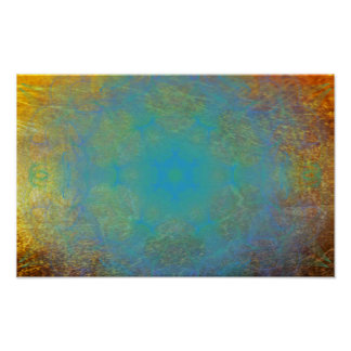 Gold with teal smoke poster