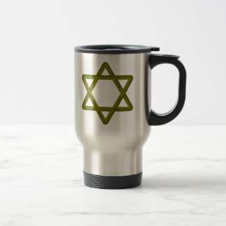 Gold Wood Star of David for Jewish Traditions Stainless Steel Travel Mug