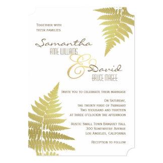 Gold Woodland Wedding Fern Invitation