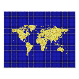 Gold World Map Blue Plaid Poster