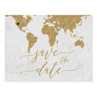 Gold World Map Destination Wedding Save the Dat Postcard