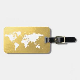 Gold World map elegant Luggage Tag