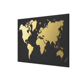 Gold World Map on Black Chevron Canvas Print