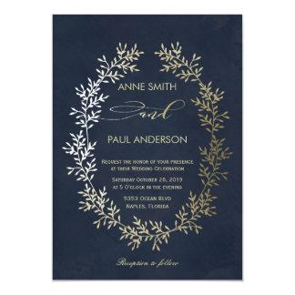 Gold wreath and navy Wedding Invitation