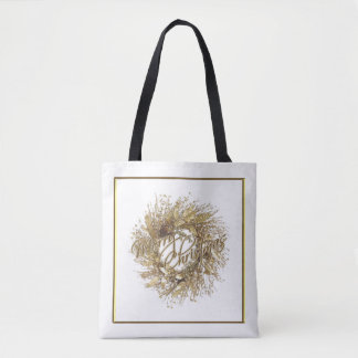 Gold Wreath Merry Christmas Tote Bag
