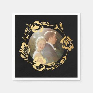 Gold Wreath Monogram Rustic Wedding Paper Napkins
