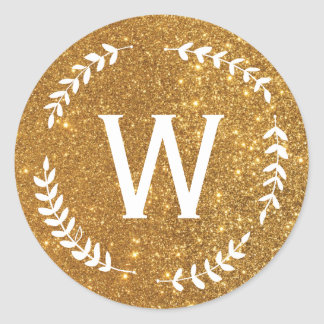 Gold Wreath Monogram Sticker