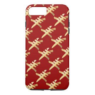 Gold Yang Symbol Sheep Goat Ram Repeating Pattern iPhone 8 Plus/7 Plus Case