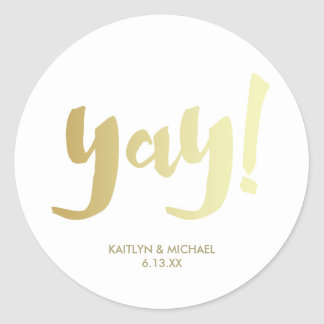 Gold Yay Glam Wedding Sticker