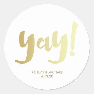 Gold Yay Glam Wedding Sticker