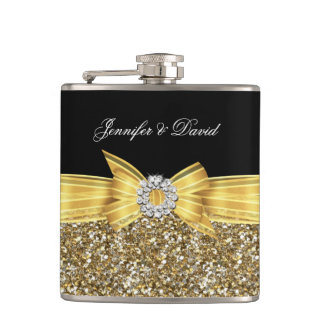 Gold Yellow Black Diamond Wedding Engagement Hip Flask