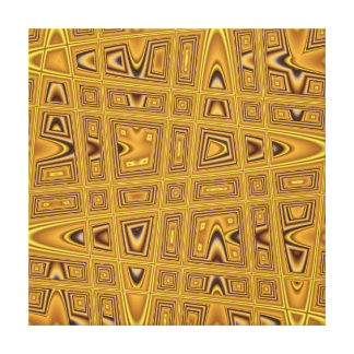 Gold Yellow Brown Black Modern Abstract Wave Stretched Canvas Print