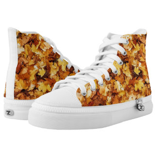 Gold yellow fall maple leaves high tops