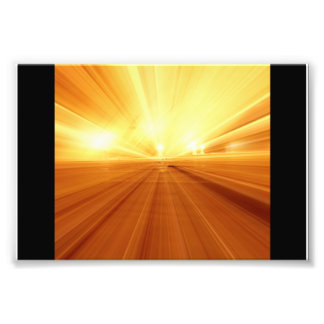 Gold Yellow Orange Abstract Zoom Blur Photo Print