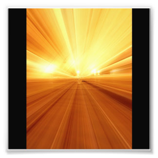 Gold Yellow Orange Abstract Zoom Blur Photographic Print