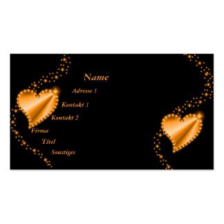 gold, yellow Rainbow Heart with Stars on black Business Card