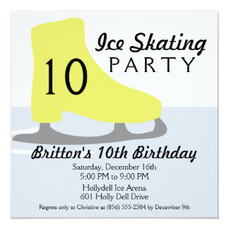 """Gold Yellow Skate Date Ice Skating Birthday Party 5.25"""" Square Invitation Card"""