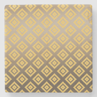 Gold Yellow Tribal Aztec Stone Coaster