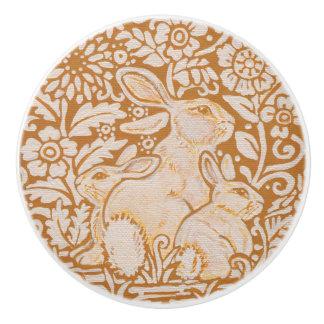 Gold Yellow White Rabbit Family Drawer Door Knob