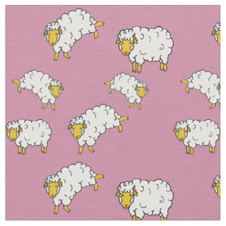 Gold/yellow/white sheep/little lambs on pink fabric