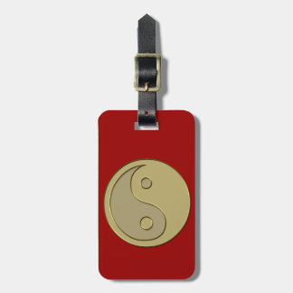 gold yin yang luggage tag
