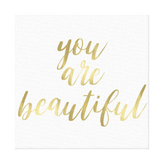Gold You are Beautiful Canvas Print