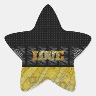 Gold Zebra Love Star Sticker