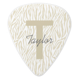 Gold Zebra Print Monogram White Delrin Guitar Pick