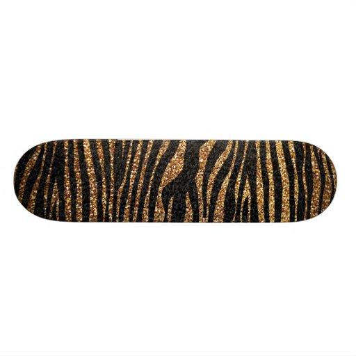 Gold zebra stripe pattern (faux glitter bling) skate deck