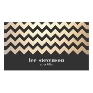 Gold Zig Zag Pattern and Black Business Card