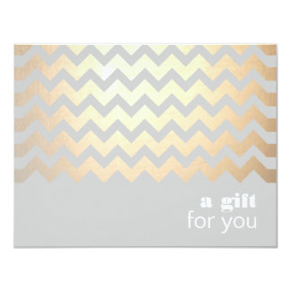 Gold Zig Zag Pattern and Gray Gift Certificate 11 Cm X 14 Cm Invitation Card