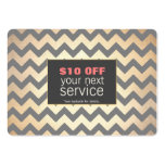 Gold Zig Zags Hair Salon and Spa Discount Coupon Pack Of Chubby Business Cards
