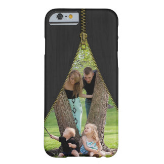 Gold Zipper Photo Template On Faux Black Wood Barely There iPhone 6 Case