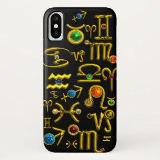 GOLD ZODIAC BIRTHDAY JEWELS,GEMSTONES,ASTROLOGY iPhone X CASE