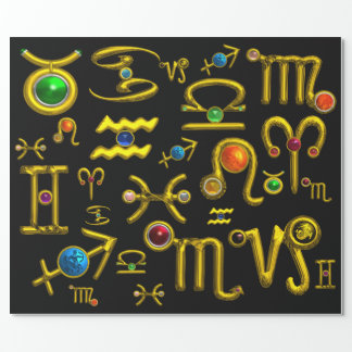 GOLD ZODIAC BIRTHDAY JEWELS,GEMSTONES,ASTROLOGY WRAPPING PAPER