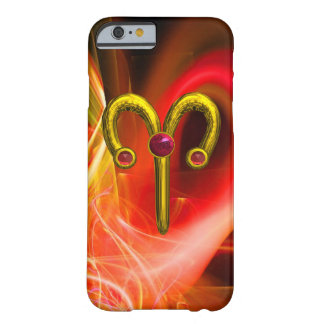 GOLD ZODIAC SIGN ARIES, Red Yellow Fractal Swirls Barely There iPhone 6 Case