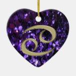 Gold Zodiac Sign Cancer on Purple Glitter Ornament