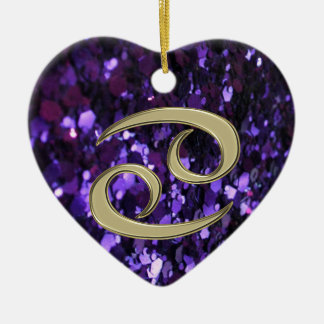 Gold Zodiac Sign Cancer on Purple Glitter Ornament