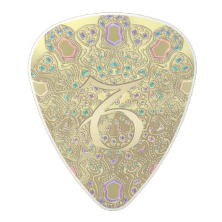 Gold Zodiac Sign Capricorn Mandala Monogram Polycarbonate Guitar Pick
