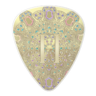 Gold Zodiac Sign Gemini Mandala Monogram Polycarbonate Guitar Pick