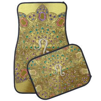 Gold Zodiac Sign Leo Mandala Floor Mat