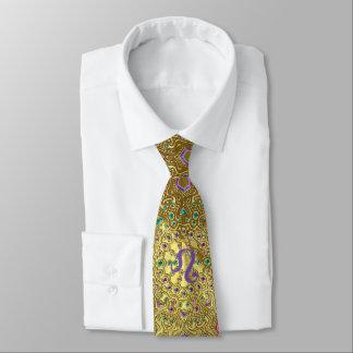 Gold Zodiac Sign Leo Mandala Tie