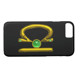 GOLD ZODIAC SIGN LIBRA Green Emerald Gemstone iPhone 8/7 Case
