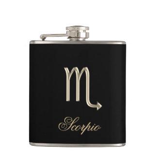 Gold Zodiac Sign Scorpio on Black Flask