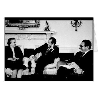 Golda Meir, President Nixon, & Henry Kissinger Card