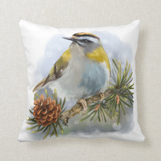 Goldcrest sitting on a spruce branch cushion