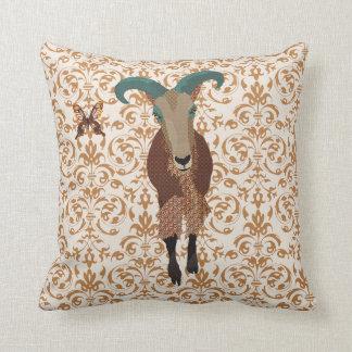 Golddust Aoudad &  Butterfly Damask Mojo Pillow Cushion