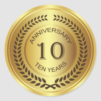 Golden 10th Anniversary with laurel wreath Sticker