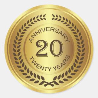 Golden 20th Anniversary with laurel wreath Sticker
