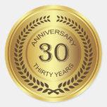 Golden 30th Anniversary with laurel wreath Sticker